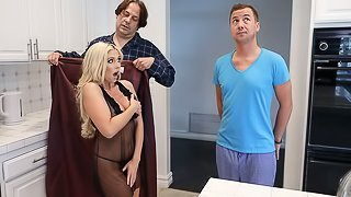Jessie Jones is home for the weekend and he bumps into his new stepmom, Christie Stevens, shaking her ass in the kitchen, turns out she's got a bad sake of slutwalking