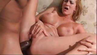 Sweaty interracial anal sex with busty mom
