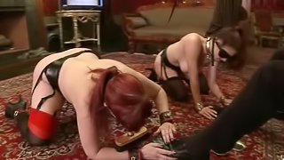 Busty blindfolded and tied up harlot gets her wet cunt licked