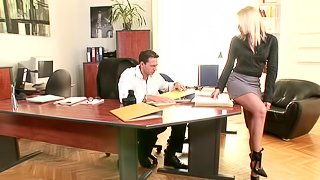 Blonde secretary in high heels miniskirt seduced boss with anal creampie and doggystyle anal sex