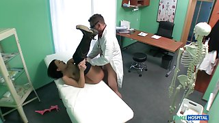Clair in Doctors cock turns patients frown upside down - FakeHospital