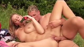 Inviting amateur babe with natural tits with piercings getting enthralled with a toy in a wicked outdoor action