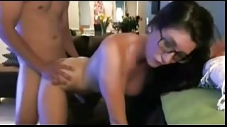 Brunette with glasses slammed and facialized