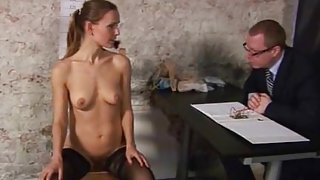 Dirty job interview for young secretary girl