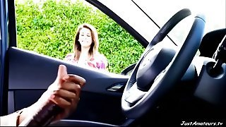 BBC dick flash girl watching black guy masturbating in car