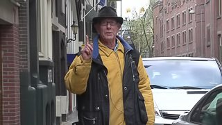 Old guy pays for a younger guy to nail and hooker in Amsterdam