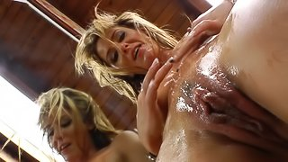 Compilation of dirty porn scene with gals playing with fake sperm