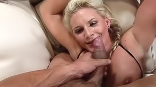 Blonde diva with big titties is glad to be fucked by brutal guy