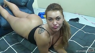 Fat ass babe bent over on his couch and fucked