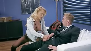 Young babe gives blowjob and pussy to stepfather in his office