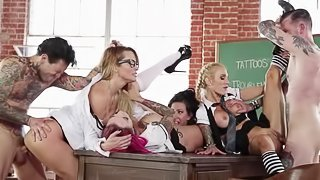 Pornstars have an orgy in the classroom with so much fucking