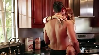 Husband doesn't even know that his wife is cheating him in the kitchen