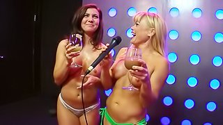 Topless TV show with top-class blondes and brunettes