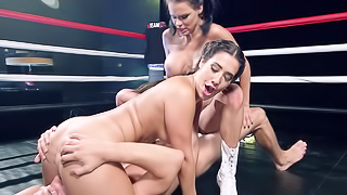 Raven haired ladies are ready to fight a well endowed porn stud