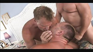 Hunky daddy bears wrestle and end up in a hot steamy threesome