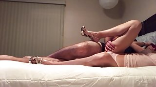 Amateur gf fucked in thong with cumshot on stomach