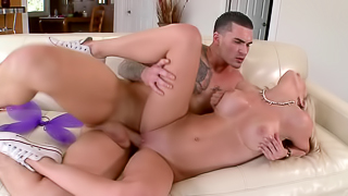 Curvy blonde porn darling needs a large magic stick right now