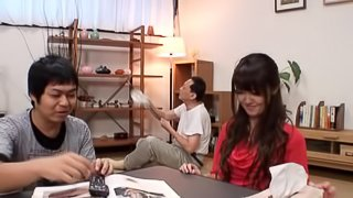 Kinky Japanese girl rides her boyfriend at home