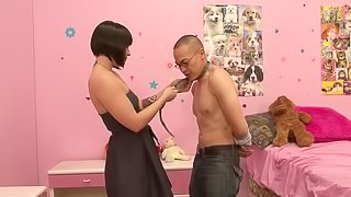 Jamey James pinches balls with her toes and whips a guy