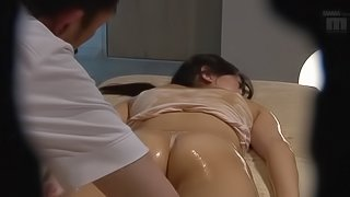 Oiled up Asian chick attacked by a man for a sex session