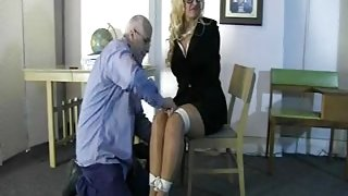 Curvy blonde MILF gets all tied up on the floor