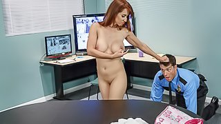 Playful chick with nice natural tits Isis Love fucks with a policeman