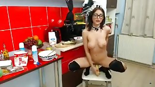 Cutie NaougttyMaria playing with cream and banana