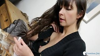 Low cut sweater girl has a nipple slip moment