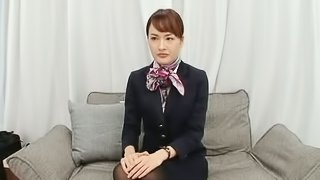 An Asian air hostess spends her time humping in her hotel