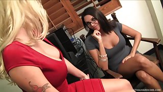Crazy Hot Office Fuck With Two Breasty Lesbians
