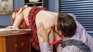 Redhead secretary Krystal Orchid gives her boss a gorgeous blowjob