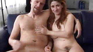 Hairy german beginner with nice hangers threesome