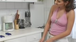 Hot girl pays the plumber with her pussy and asshole