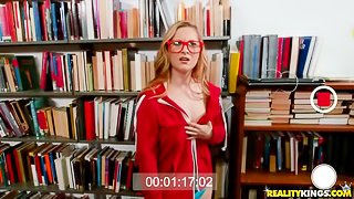 Redhead with huge boobs Kara Lee gets fucked in the library