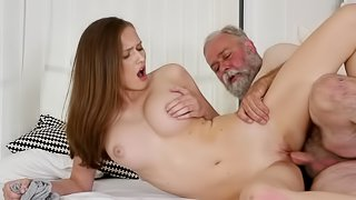 Old guy feels love up and thrusts cock in her shaved snatch