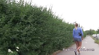 Natural big tits Czech babe fuck outdoor pov