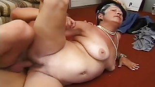 Fat Old Lady Chokes On Young Man's Cock