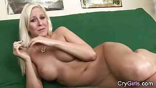Blonde MILF crying after solo toying and anal play