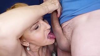 Granny fucked in mouth and horny pussy by three times younger boy