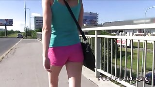 Naughty Czech blonde bangs outdoor pov