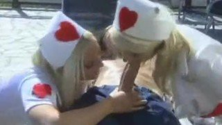 Two hot blonde nurses sucking to save a man's life