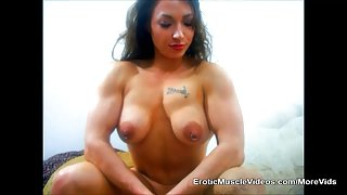 Big Titties and Massive Muscles Bulging Out Of Mini Dress
