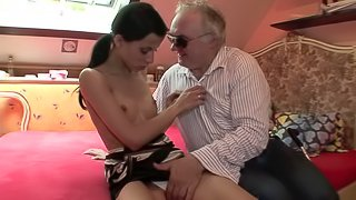 Pretty Brunette Goes Hardcore With A Dirty Old Man