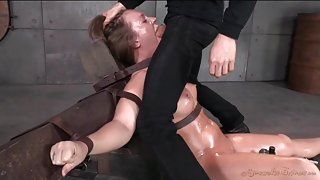 Slut tied down and throat fucked by her master