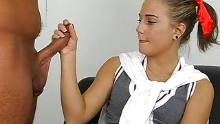 Petite blonde cheerleader slut sucks a dick and rides it so well
