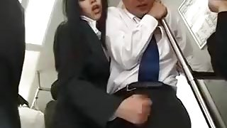 horny Japanese girl sexual harassment to a man on train