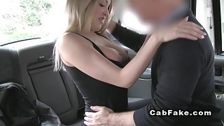 Busty blonde Brit bangs till cumshot in fake taxi