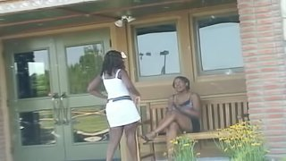 Thick, ebony babe has an orgasm on a white guy's dick