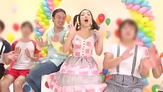 Pretty teen Japanese girl gets gangbanged and facialed