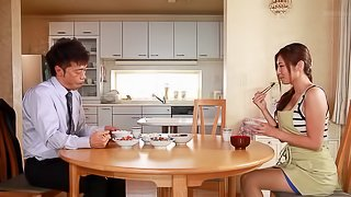 Longhaired Japanese wife knows how to please her man